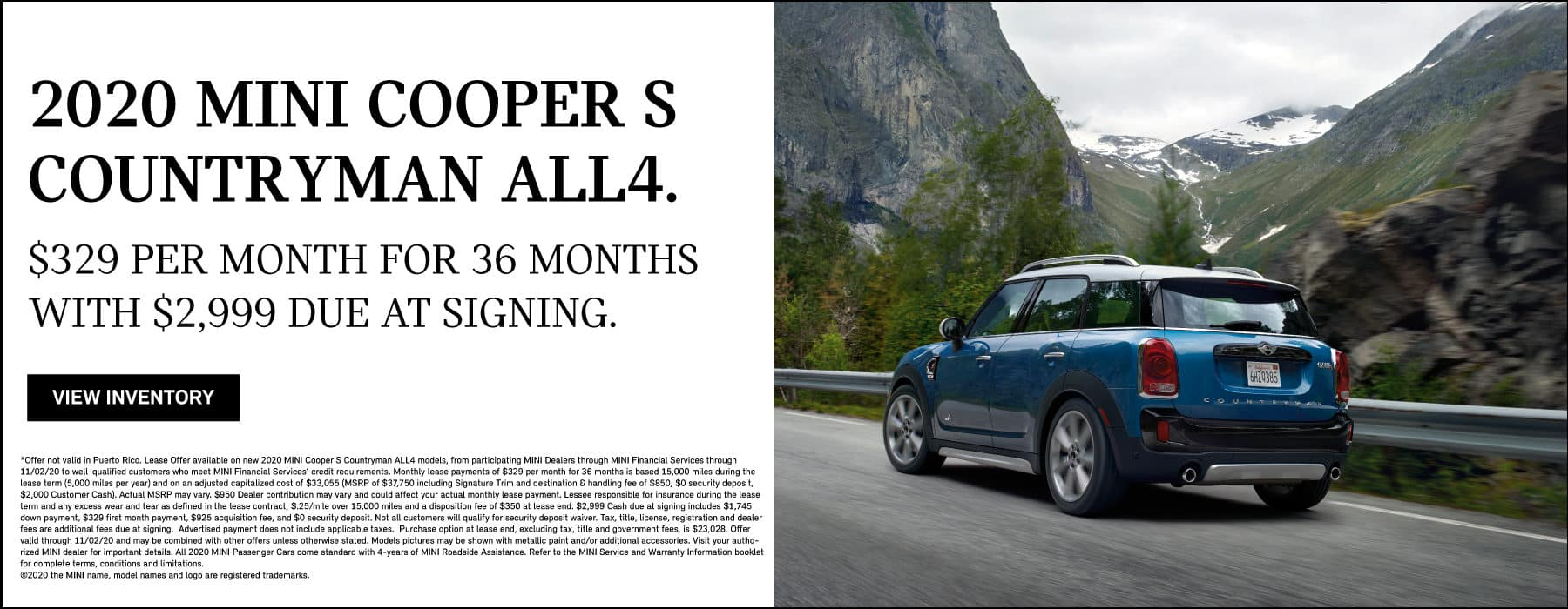 2020 MINI COOPER S COUNTRYAMN ALL4. $329 per month for 36 months with $2999 due at signing.