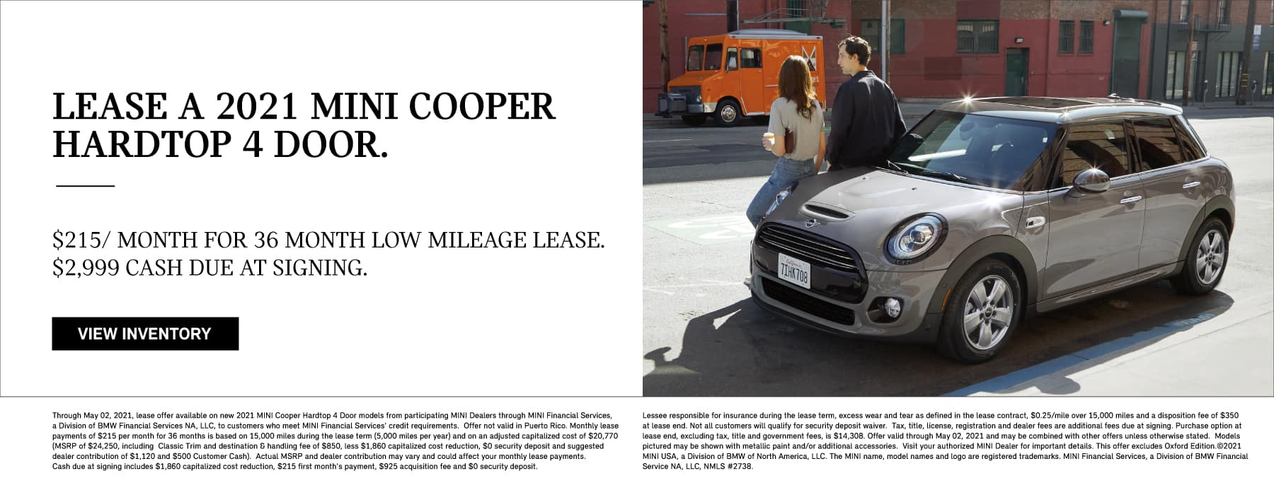 Lease a 2021 MINI Cooper Hardtop 2 Door. $199 per month for 36 low mileage lease. $2999 due at signing