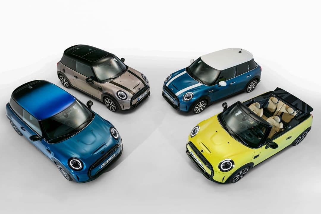 Aerial Shot of the four new 2022 MINI Hardtop models