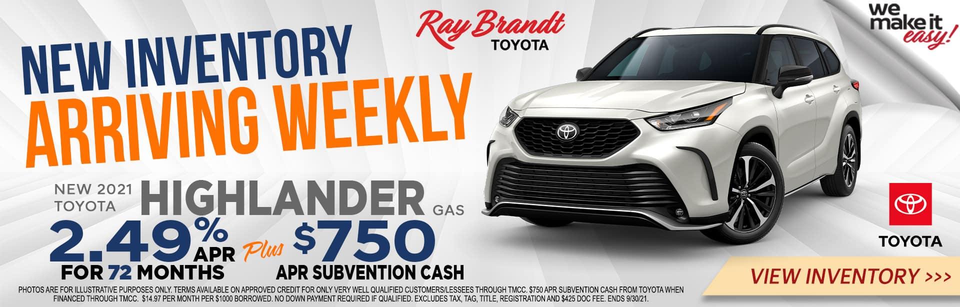 750 Customer Cash on Toyota Highlander