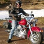 Man on Harley in Winter