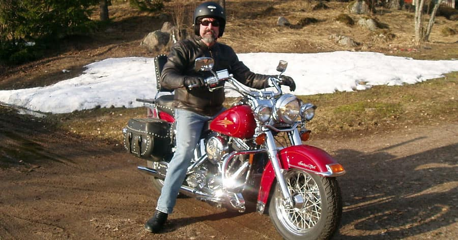 Man on Harley in Winter