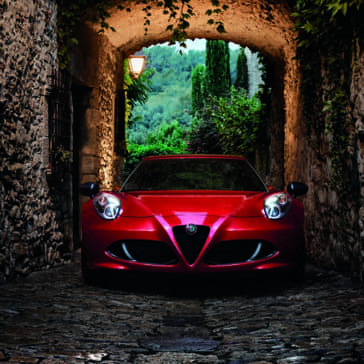 2018-Alfa-Romeo-4C-Coupe-Parked-Under-Stone-Building