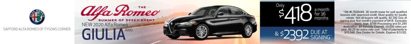 New 2020 Alfa Romeo Giulia AWD only $418 a month for 36 months | Learn More