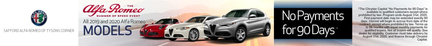 All 2019 and 2020 Alfa Romeo Models No payments for 90 days | Learn More