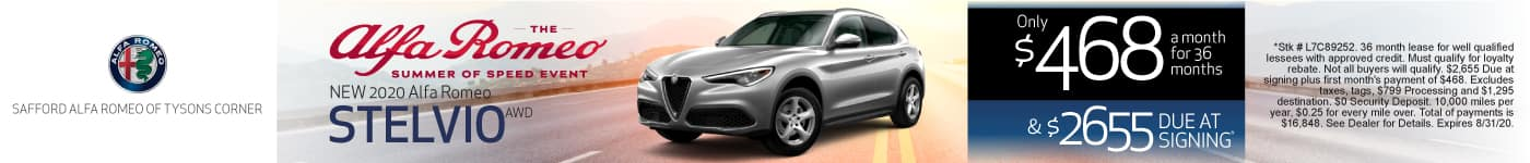 2020 Alfa Romeo Stelvio AWD only $468 a month for 36 months | learn More