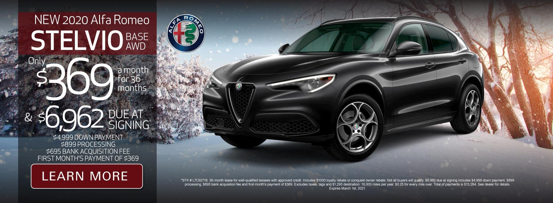 New 2020 Stelvio Base AWD Only $369 a month for 36 months | Learn More
