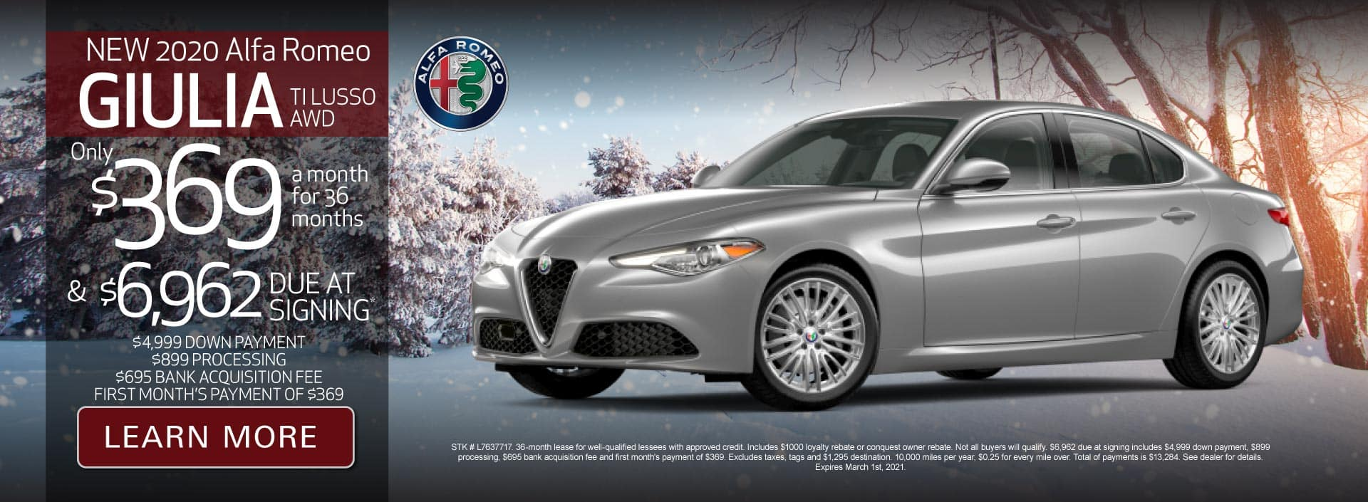 New 2020 Giulia TI Lusso AWD Only $369 a month for 36 months | Learn More