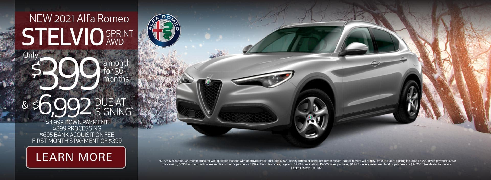 New 2021 Stelvio Sprint AWD Only $399 a month for 36 months | Learn More