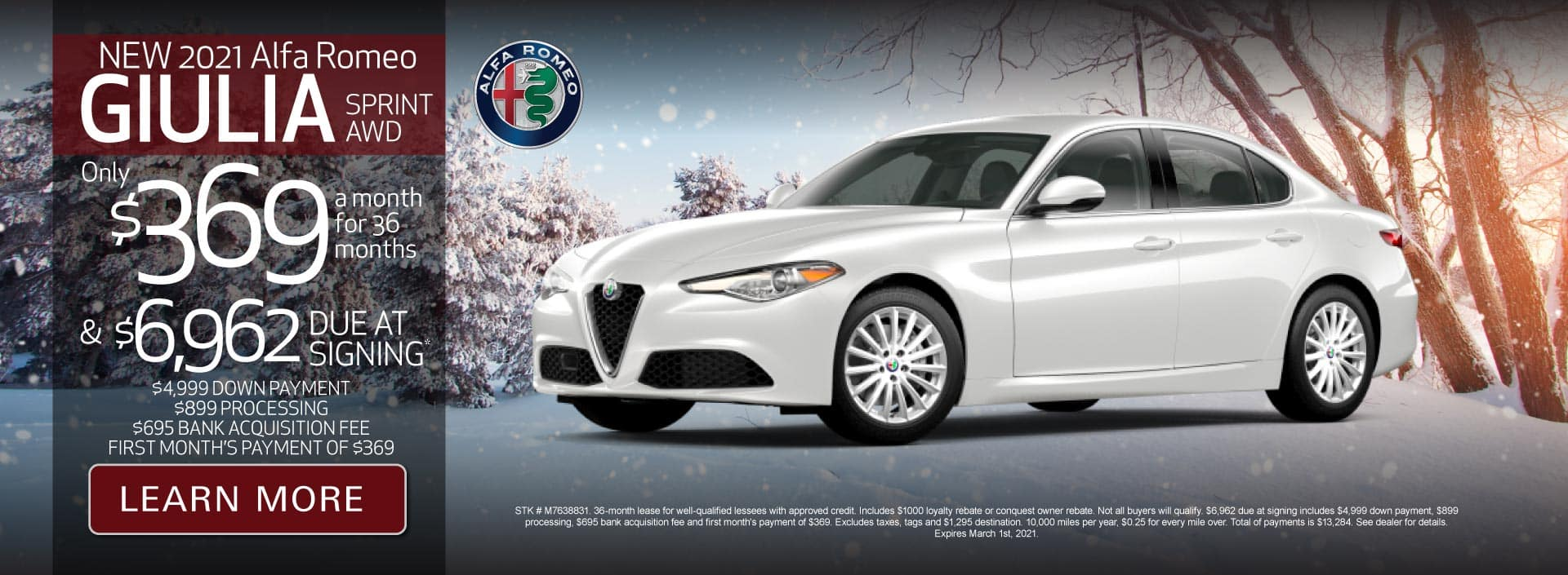 New 2021 Giulia Sprint AWD Only $369 a month for 36 months | Learn More