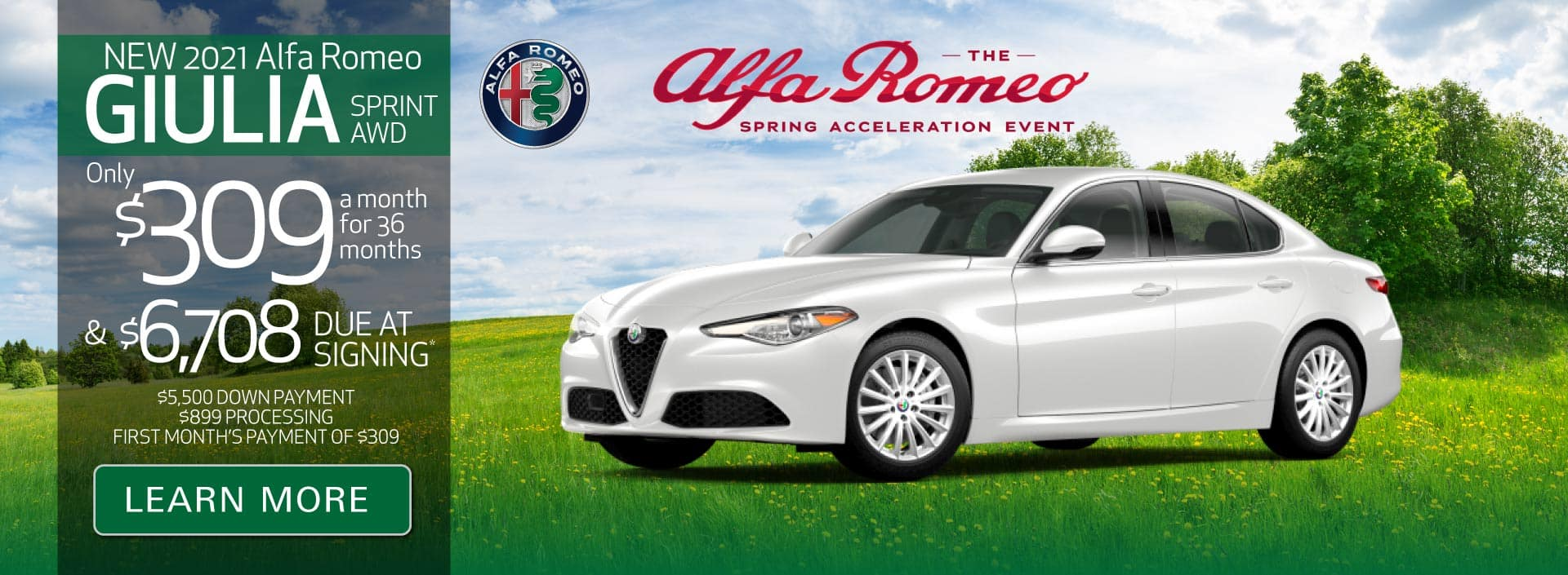 New 2021 Giulia Sprint AWD Only $309 a month for 36 months | Learn More