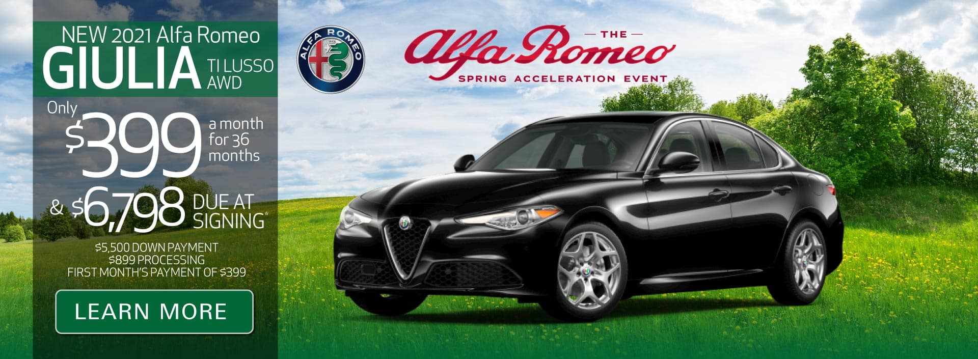 New 2021 Giulia TI Lusso AWD Only $399 a month for 36 months | Learn More