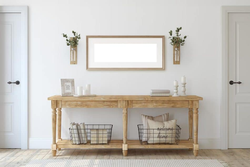 Farmhouse entryway table and decorations