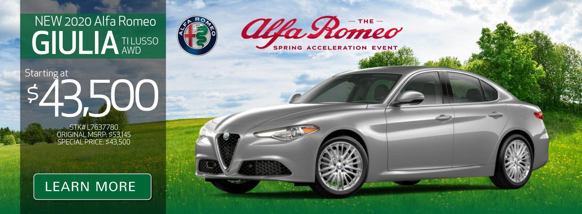 New 2020 Giulia TI Lusso AWD starting at $43,500 | Learn More