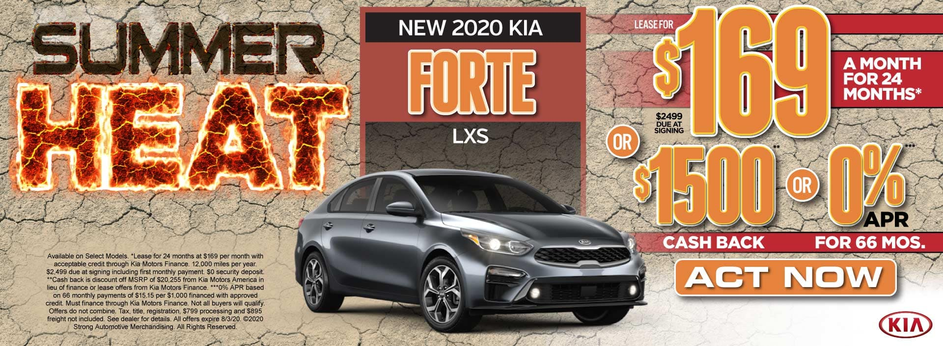 New 2020 Kia Forte only $169/mo or $1500 Cash Back - Act Now