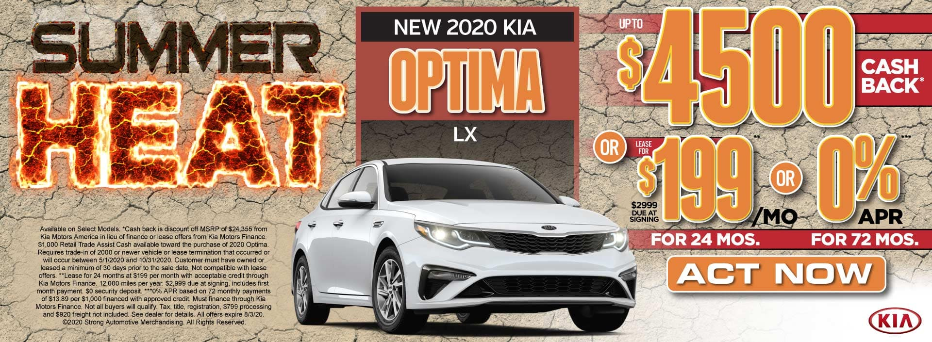 New 2020 Kia Optima up to $4500 Cash Back or $199/mo - Act Now