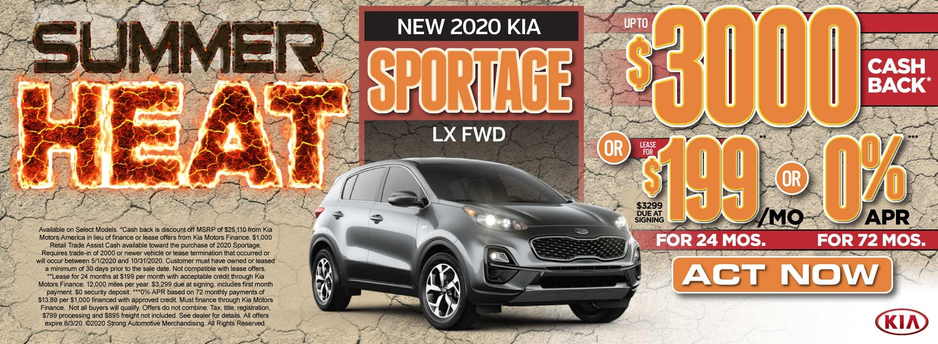 New 2020 Kia Sportage up to $3000 Cash Back or $199/mo - Act Now