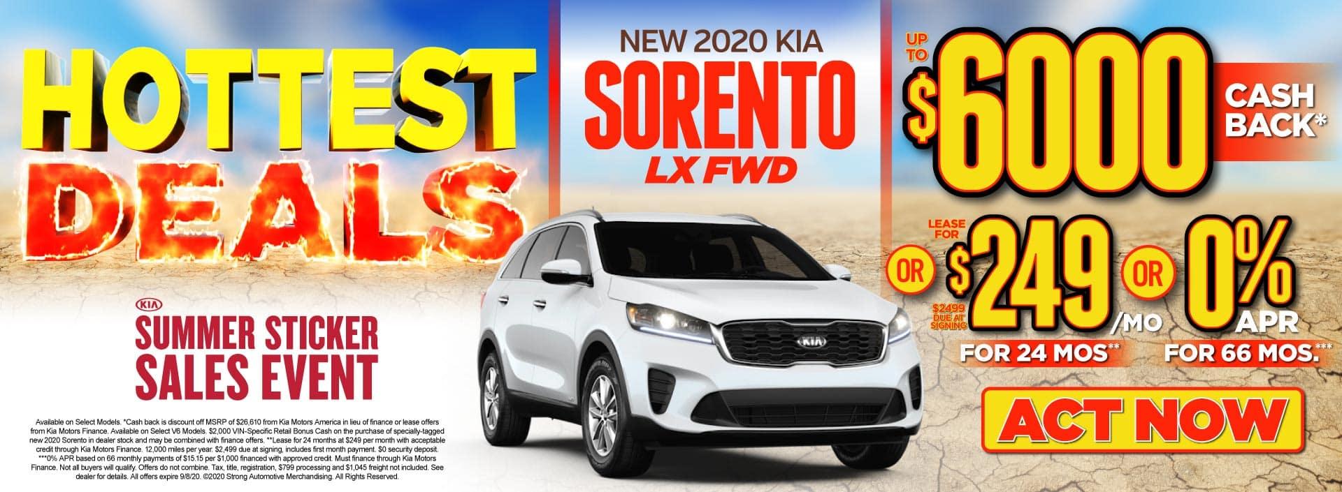 New 2020 Kia Sorento up to $6000 Cash Back - ACT NOW