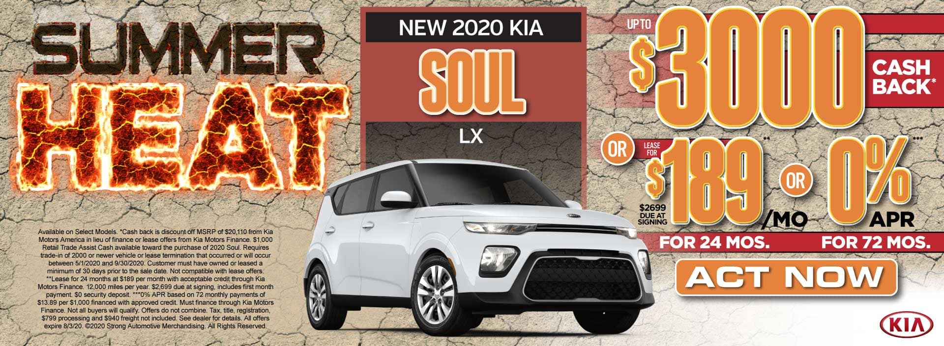 New 2020 Kia Soul up to $3000 Cash Back or $189/mo - Act Now