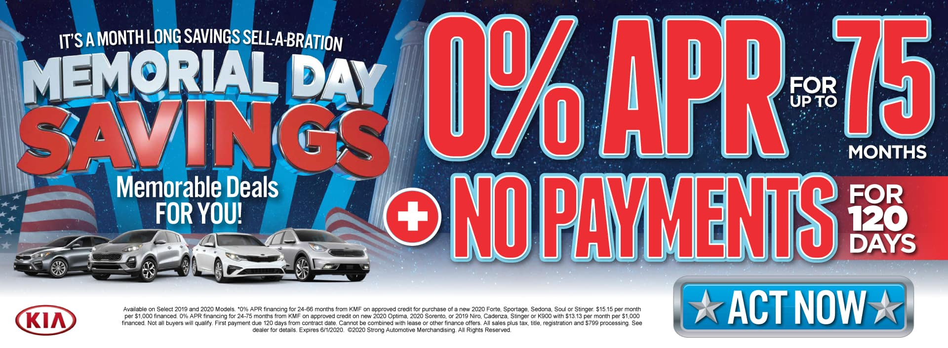 0% APR for 75 months plus No Payments for 120 Days - Act Now