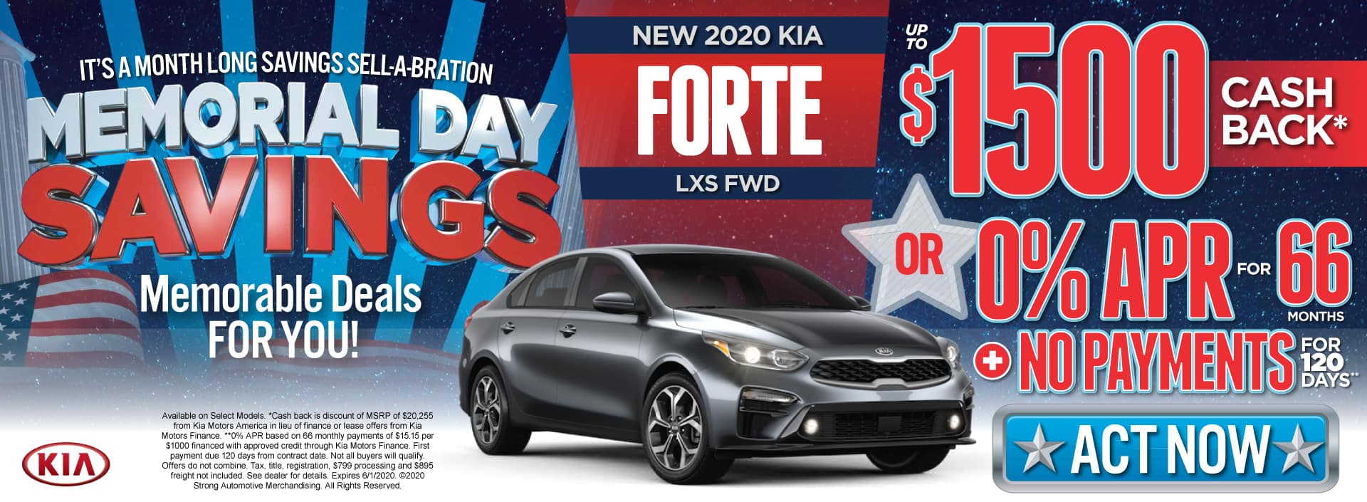 New 2020 Kia Forte - $1500 Cash Back or 0% APR for 66 Months - Shop Now