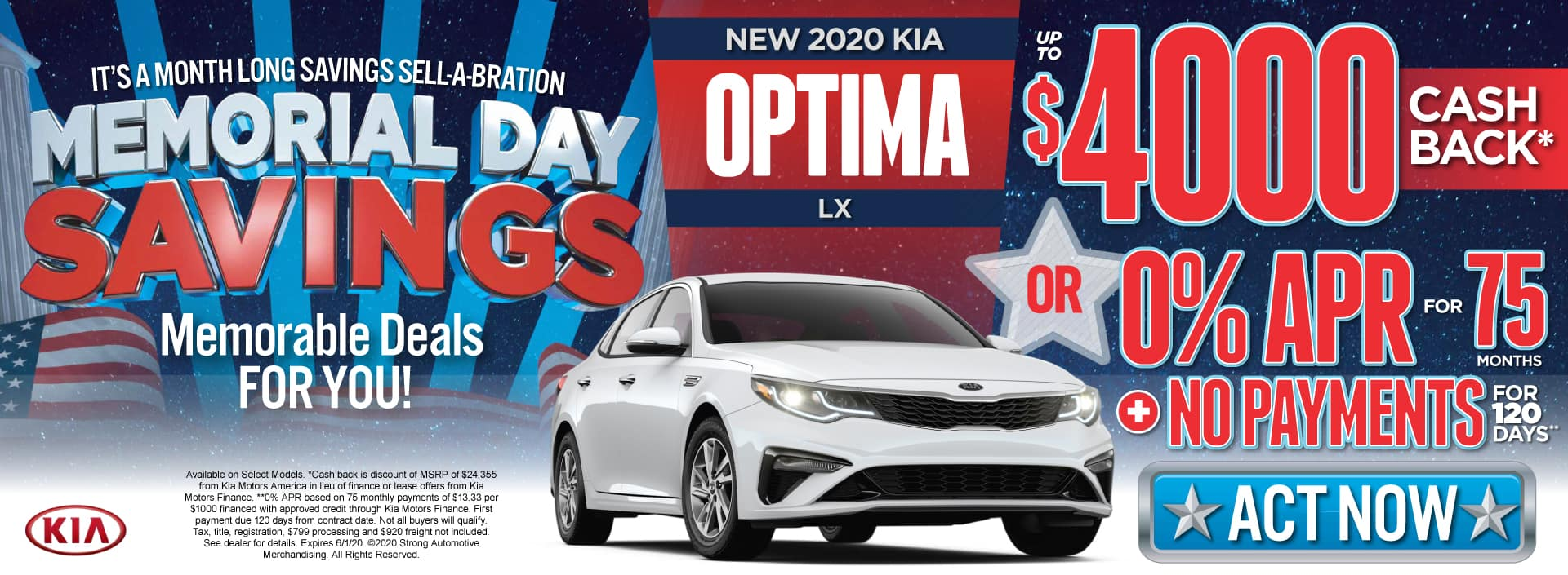 New 2020 Kia Optima - $4000 Cash Back or 0% APR for 75 months - Shop Now