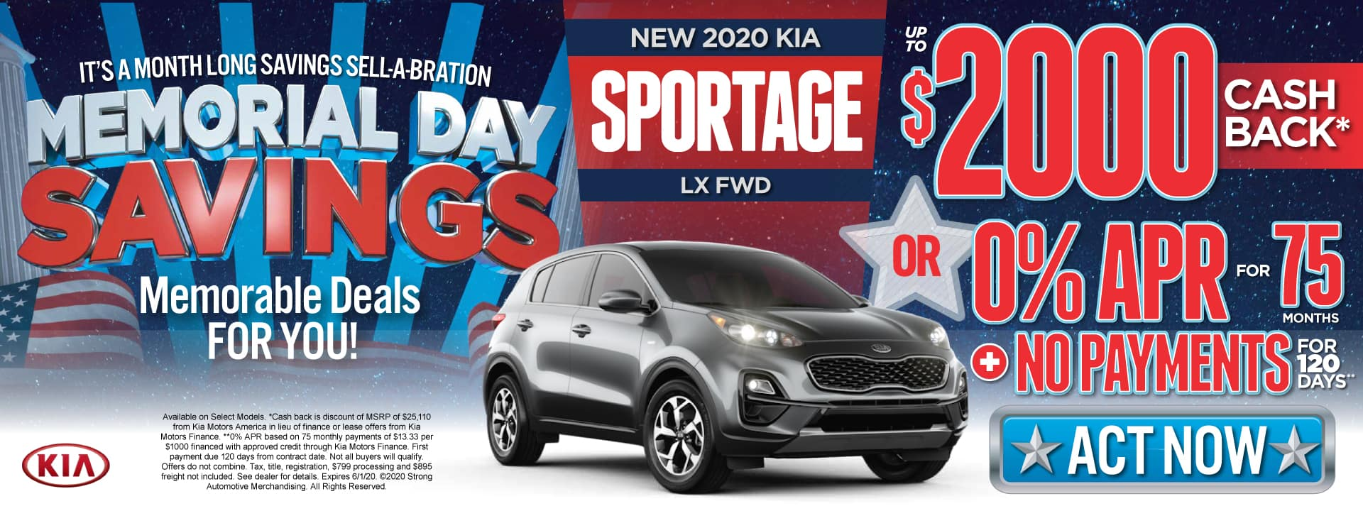 New 2020 Kia Sportage - $2000 Cash Back or 0% APR for 75 months - Shop Now