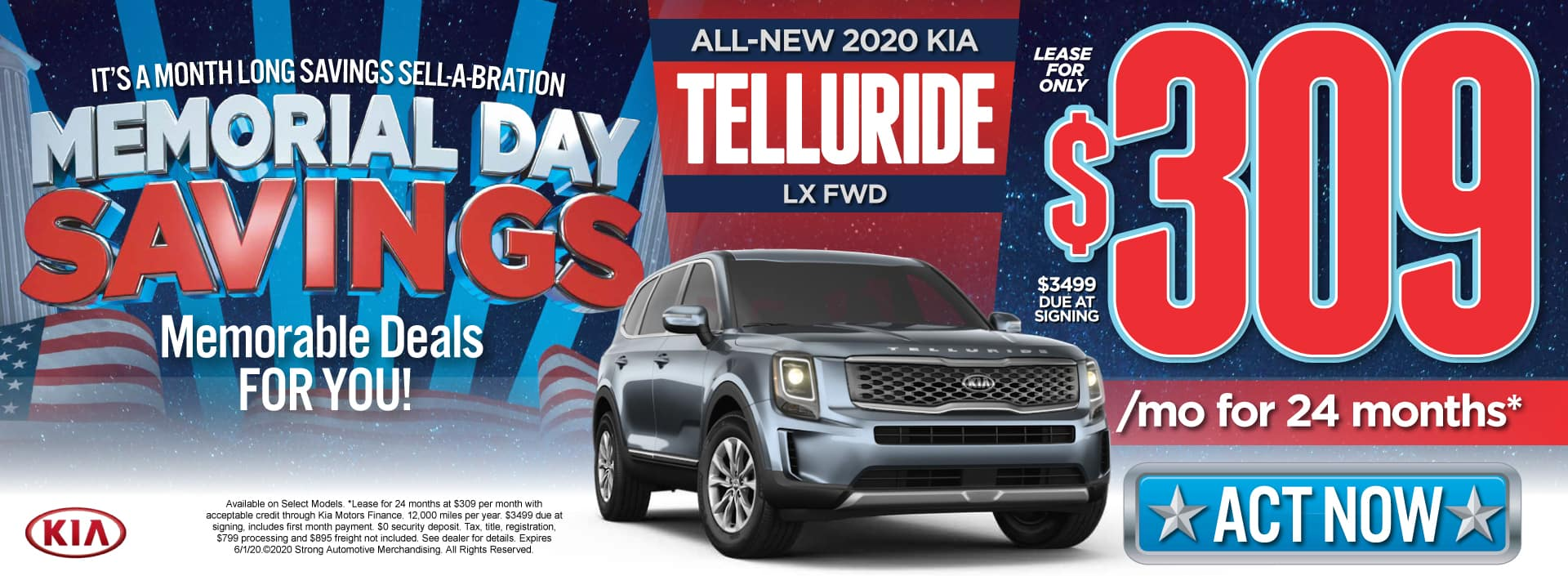 New 2020 Kia Telluride - Lease for $309 a month - Act Now