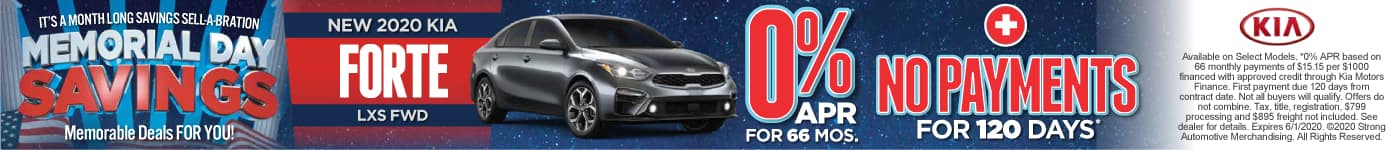 New 2020 Kia Forte 0% APR & No Payments for 120 Days