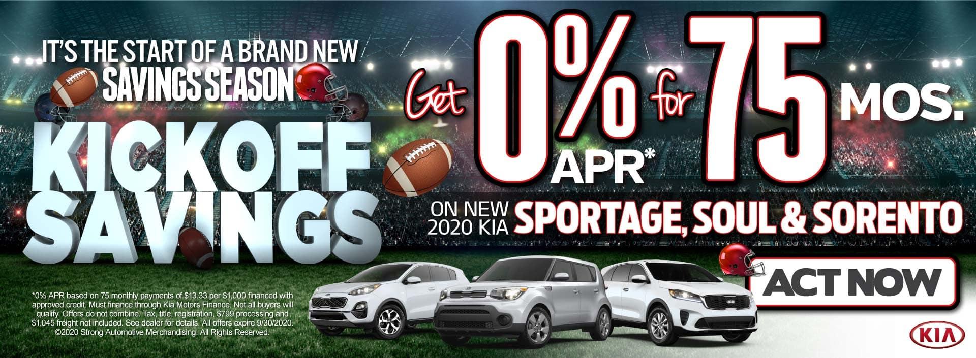 Sportage, Soul & Sorento get 0% APR for 75 mos. Act Now!