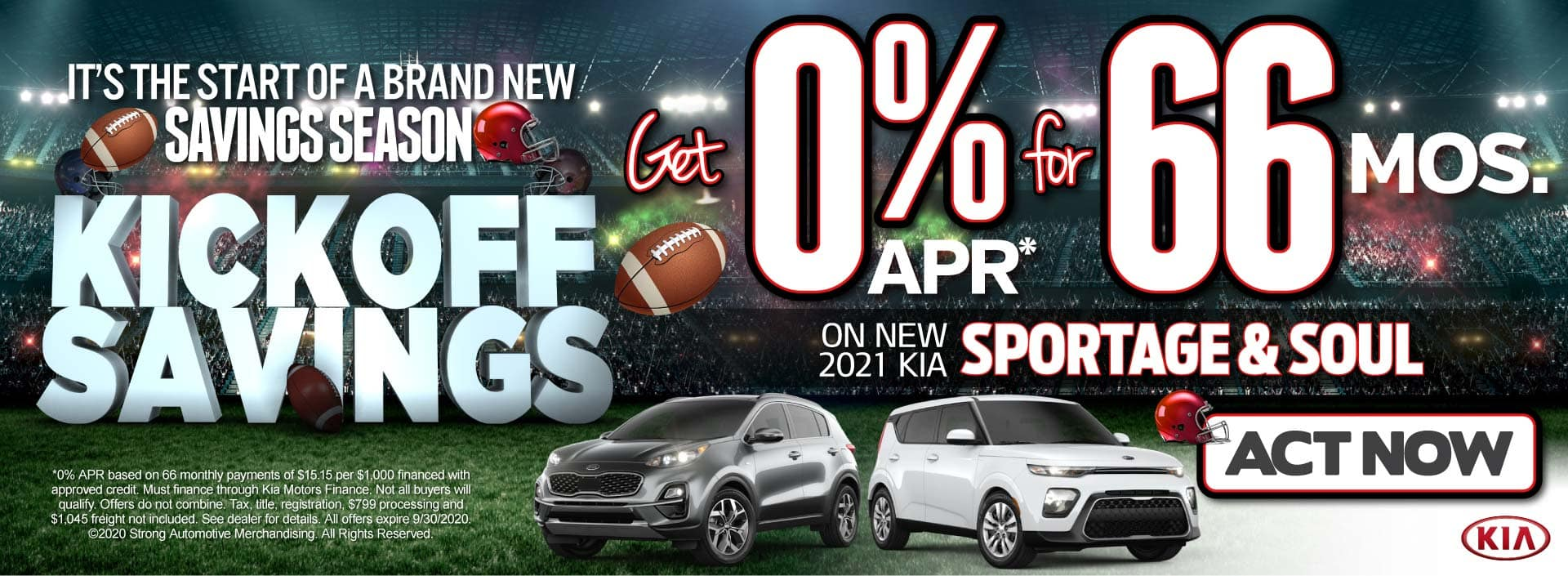 Sportage and Soul get 0% APR for 66 Mos. Act Now!