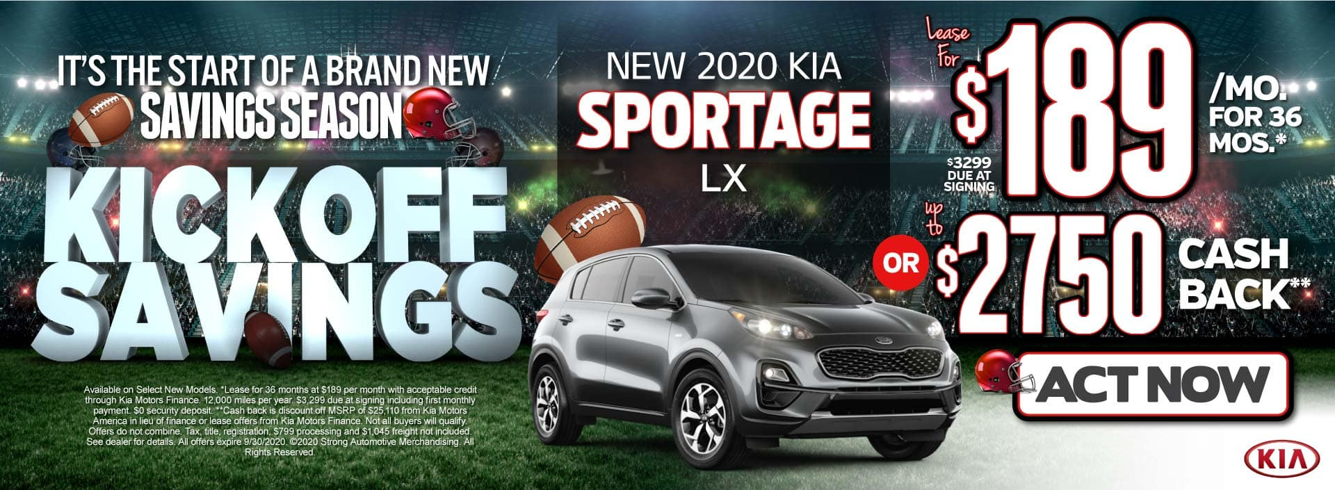 New 2020 Kia Sportage only $189 or $2750 Cash back- ACT NOW