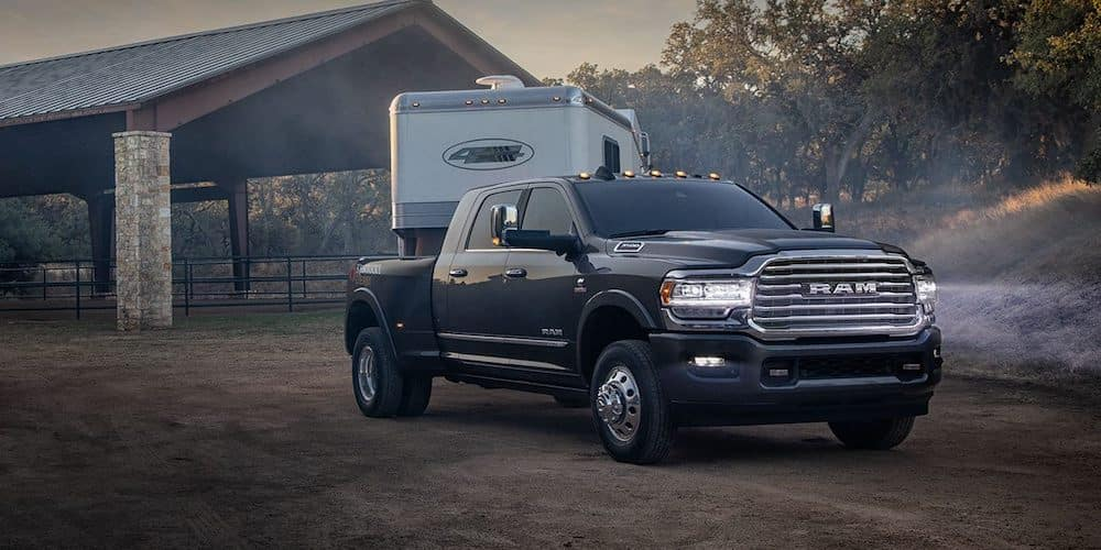 Black 2019 RAM 3500 Towing Trailer