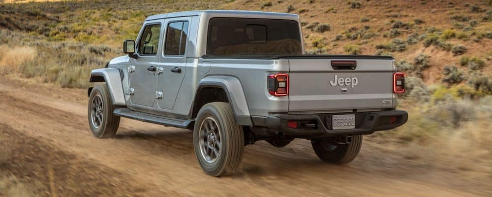 Gray 2020 Jeep Gladiator on Dirt Road