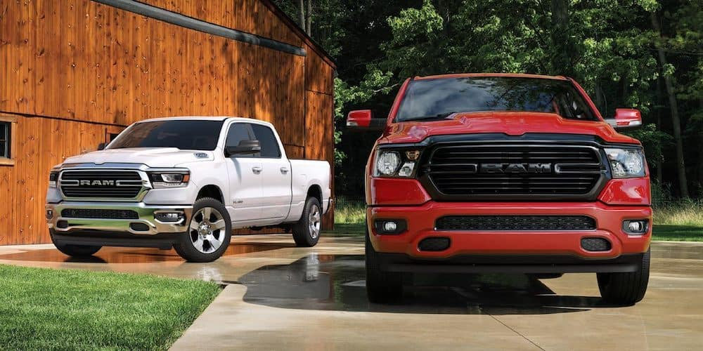 White and Red 2020 RAM 1500 Models on Display