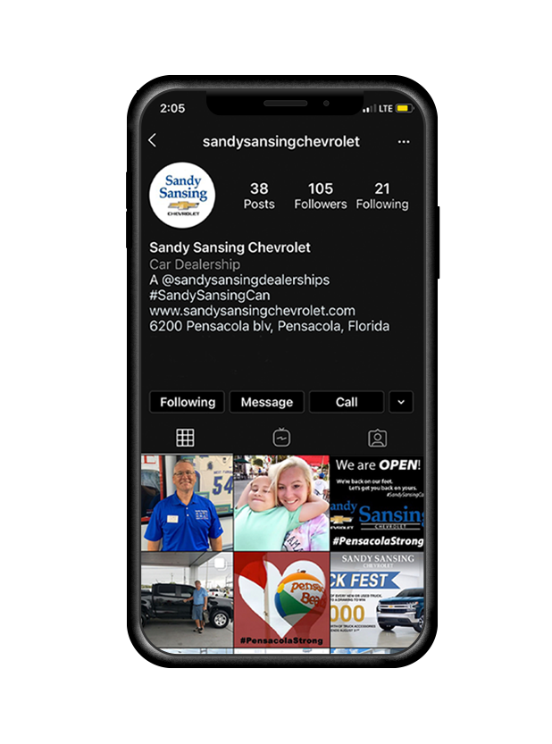 Mobile phone showing Sandy Sansing Chevy's Instagram profile.