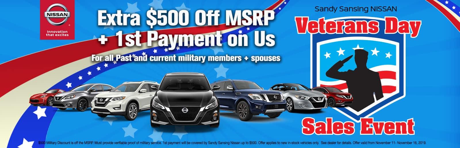 Sandy Sansing Nissan Pensacola FL Veterans Day Sale
