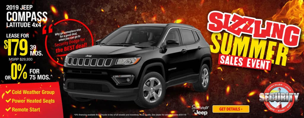 2019 Jeep Compass Latitude 4x4 $179/Month | Security Dodge