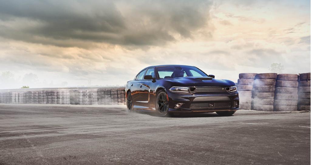 2020 Dodge Challenger doing a burnout on a track near Shaver CDJR