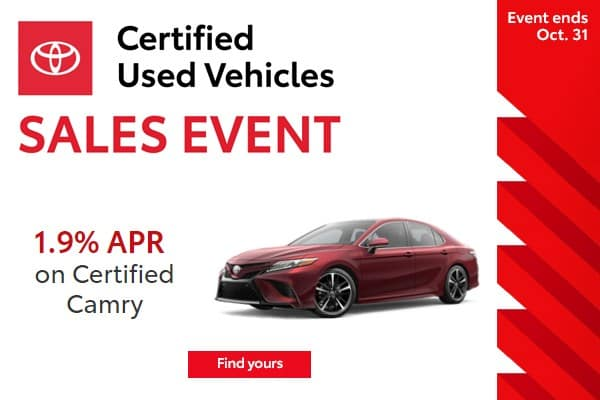 1.9% APR Financing Available on Every Toyota Certified Used Camry