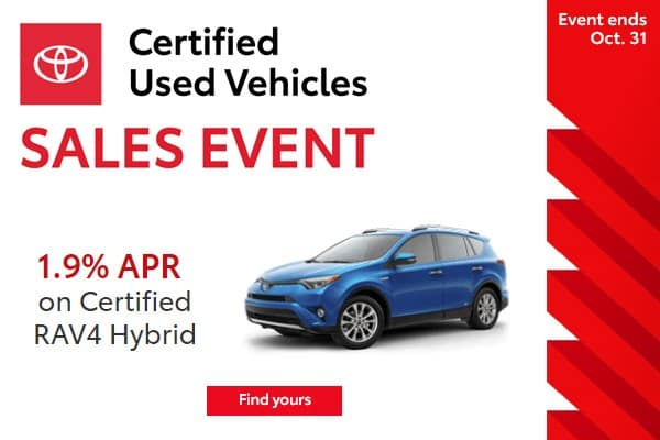 1.9% APR Financing Available on Every Toyota Certified Used RAV4 Hybrid