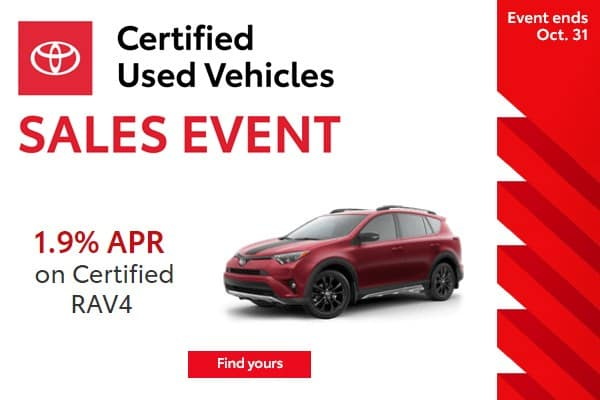 1.9% APR Financing Available on Every Toyota Certified Used RAV4