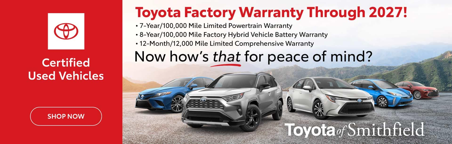 Toyota Certified Used Vehicles Warranty Info Slider