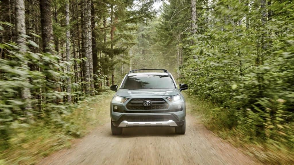 2019 Toyota RAV4 head on view in forest