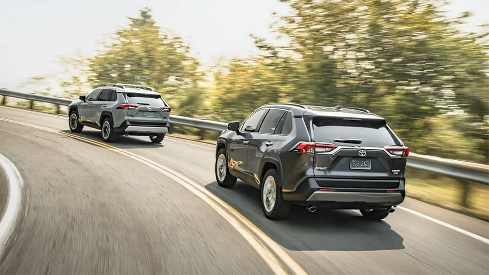 Two 2019 Toyota RAV4s on the road