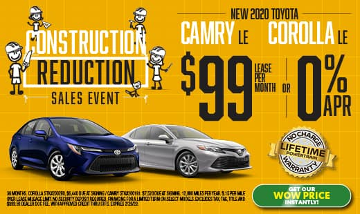New 2019 Toyota Camry and 2020 Toyota Corolla