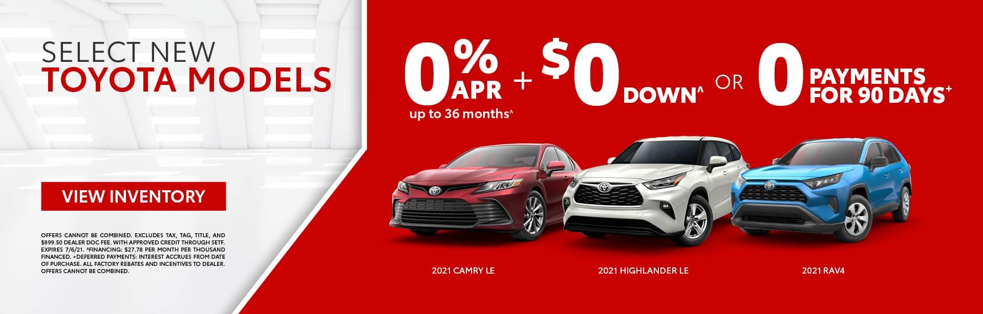 Select New Toyota Models