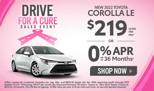 0% APR available on New 2022 Toyota Corolla