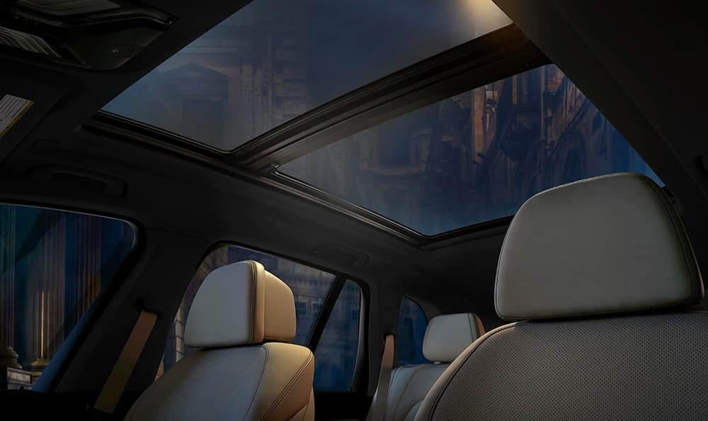 2019 BMW X5 interior with leather seats and panoramic moonroof
