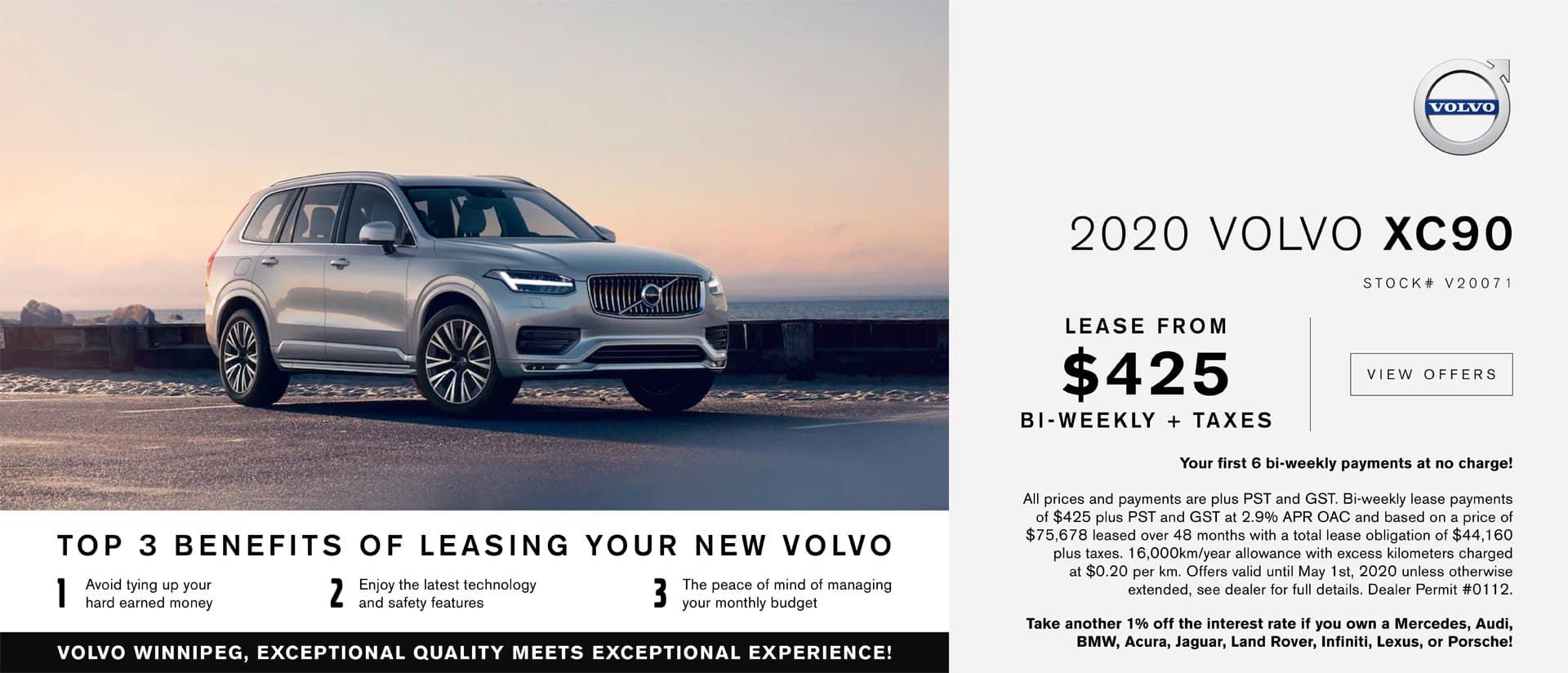 Volvo Winnipeg April XC90 Lease Offer